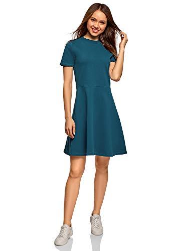 oodji Ultra Damen Tailliertes Kleid mit Reißverschluss, Blau, DE 36 / EU 38 / S