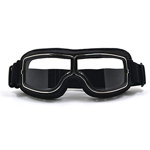 Gafas Moto,Moto Gafas Cool scooter motocross gafas gafas motocicleta ciclismo gafas crucero steampunk atv gafas gafas de gafas Gafas Motocross (Color : BK frame clear lens)
