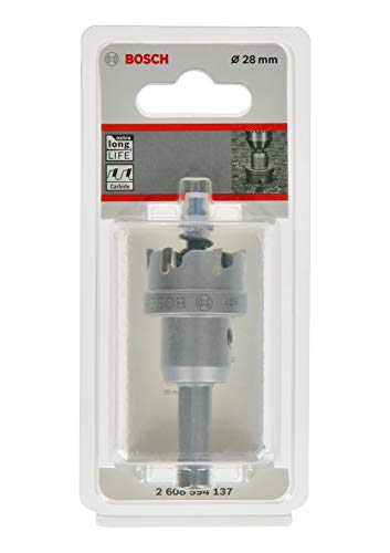 Bosch Professional 2608594137 Sierra de Corona de carburo Precision for Sheet Metal (Acero Inoxidable, Ø 28 mm, Accesorios para Taladro), Ø 28 mm
