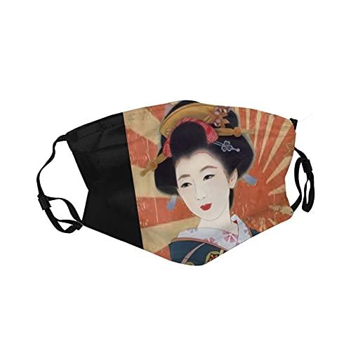 Ropa deportiva Ma_sk transpirable, lavable, reutilizable para la boca con correa ajustable para adultos y jóvenes, estilo vintage, rayos de sol, geisha japonesa retro