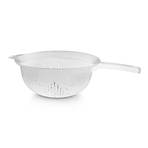 YBM Home 9.75 Inch Plastic Strainer Colander with Long Handle – Made of Food Safe BPA-Free Plastic - Use for Pasta, Noodles, Spaghetti, Vegetables and More 31-1130-white (1, White)