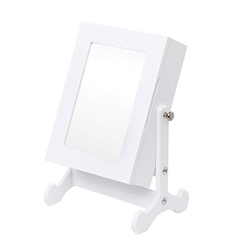 Zhengsheng Small Mirror Jewelry Cabinet Organizer Armoire Storage Box Countertop w/Stand (White)