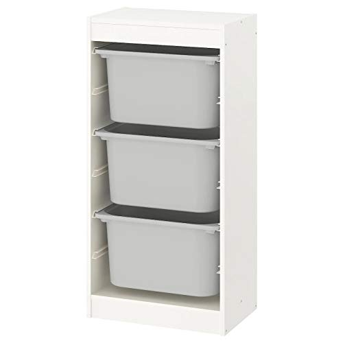 Trofast IKEA Regal, Aufbewahrung mit Boxen 46x30x94 cm Set NEU (Regal weiß/Boxen grau)