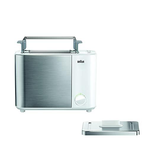 Braun IDCollection HT5010 WH - Tostadora doble ranura para tostadas de un lado, 13 grados de tostado, función descongelación, incluye accesorio para panecillos, 1000 W, color blanco y acero inoxidable