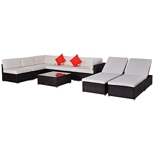 Outsunny Modern 9 Piece Outdoor Patio Rattan Wicker Sofa Sectional & Chaise Lounge Furniture Set - Desert Sand