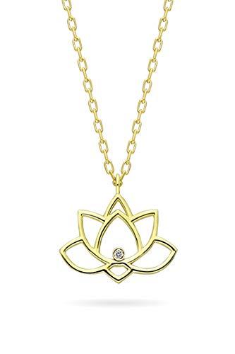 Collar de plata de diamante de 0,02 quilates con cadena chapada en oro y colgante de flor de loto colgante de plata para mujer y niña