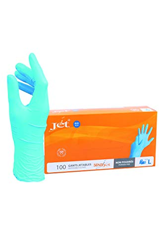 Jet + Guantes de vinilo multiusos, sin polvo, desechables, extra fuertes - Caja de 100 - Talla L