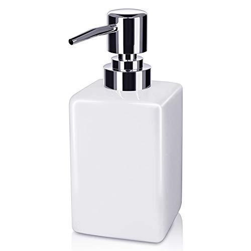 Seifenspender, 320ml Keramik Quadratischer Klassischer Seifen- und Lotionspumpenspender für Die Küche Badezimmer Waschküche Nachfüllbares Shampoo Handseifenseife Ätherisches Öl (weiß)