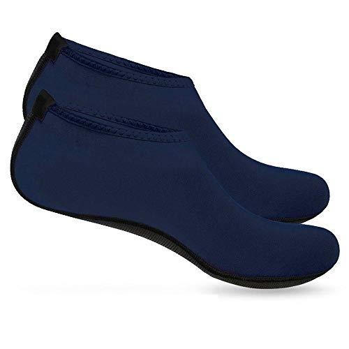 Zapatillas de Deporte acuático BOOLAVARD Barefoot Calcetines de Yoga Aqua de Secado rápido para Hombres, Mujeres y niños (XXL - 44-45 EU, Azul)