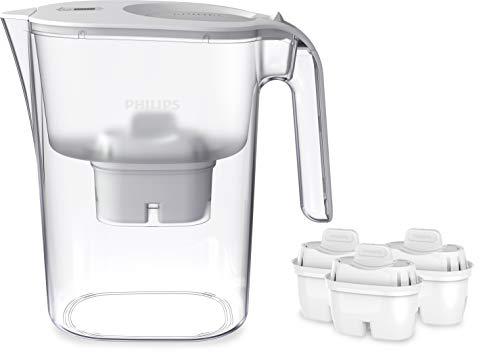 Philips - AWP2936 - Jarra filtro de agua, Incluye 1 cartucho Micro X Clean, Reduce la cal, el cloro y los Microplásticos y PFOA, Agua filtrada con gran sabor y pureza, 3 Litros, blanco