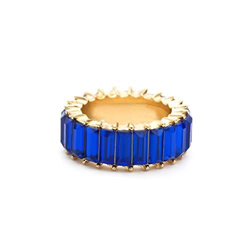 nanjing 8 colori Rainbow Crystals Ring Anello con zirconi cubici Baguette Anello donna impilabile