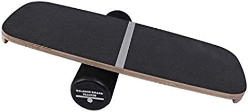"""Houseables Balance Board, Core Trainer, 29"""" x 11"""", 1 Pk, Black, Wood, Plastic, Roller Balancing Boards, Skateboard Training, for Abs, Exercise Equipment, Workout, Ankle Strengthening Therapy, Fitness"""
