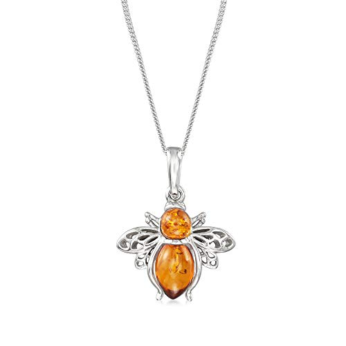 Ross-Simons Amber Bumblebee Pendant Necklace in Sterling Silver. 18 inches
