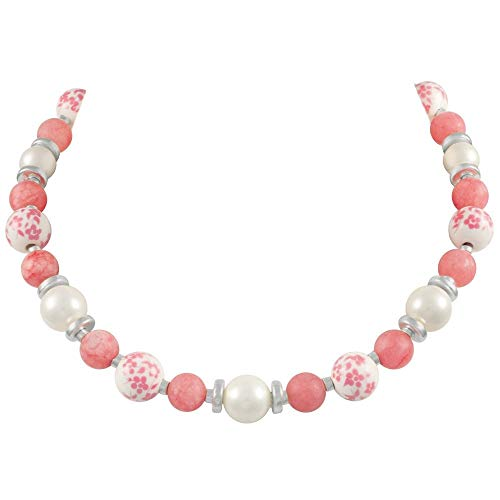 Eternal Collection Meadow Coral Pink Floral Silver Tone Beaded Necklace Pink 46