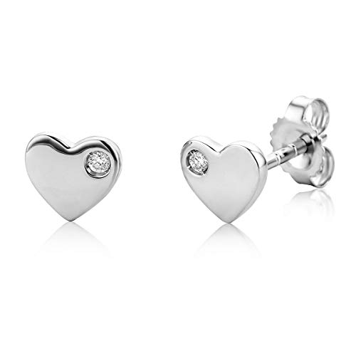 Miore heart stud earrings with brilliant cut diamond of 0.02 ct in 9 kt 375 white gold 6 x 5.5 mm