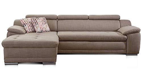 Cavadore Ecksofa Aniamo mit XL-Longchair links / Eckcouch mit Kopfteilfunktion im modernen Design / Sitzecke für Wohnzimmer / Größe: 270 x 80 x 165 cm (BxHxT) / Bezugsstoff in braun