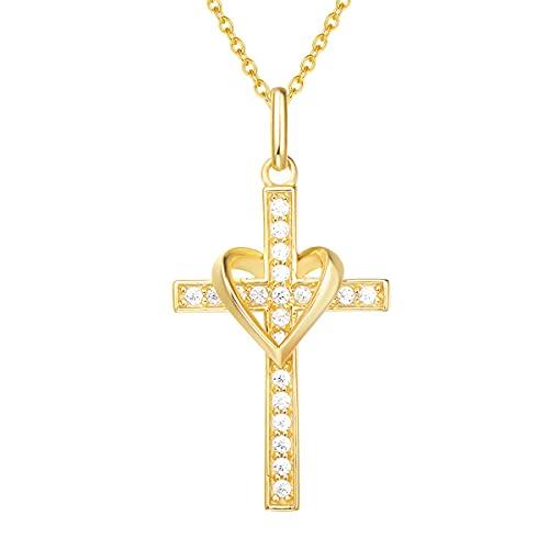 Collier Croix Femme Argent 925/1000 Plaqué Or Jaune Chretienne Religieux Infini Coeur Pendentif avec Zircone Cubique - Chaîne Ajustable: 40 + 5 cm