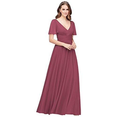 David's Bridal Flutter Sleeve Crisscross Mesh Bridesmaid Dress Style F19933, Chianti, 18
