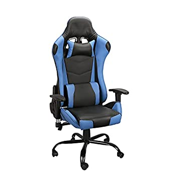 YJCFurniture Gaming Chair Racing Office Computer Game Chair Ergonomic Backrest and Seat Height Adjustment Recliner Swivel Rocker with Headrest and Lumbar Pillow Chair  B-Blue