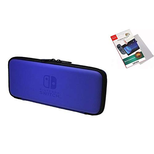 Capa Case Estojo Para Nintendo Switch Console + Pelicula Vidro - Azul.