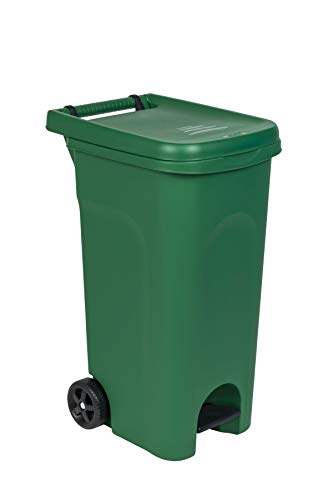 Kreher Garten- und Abfalltonne mit Pedal, Müllsackhalterung und 80 Liter Nutzvolumen. Maße 51 x 40 x 79,5 cm. (Grün)