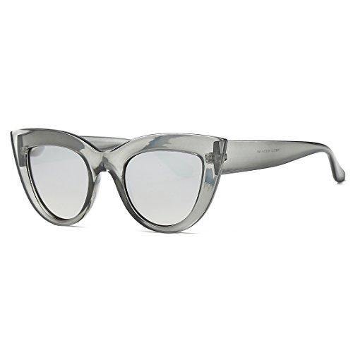 kimorn Gafas De Sol Para Mujer Bisagras De Metal Ojos De Gato Marco De Plástico K0568 (Gris transparente&Plata)