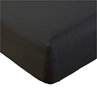 Mellanni Fitted Sheet Queen Black - Brushed Microfiber 1800 Bedding - Wrinkle, Fade, Stain Resistant - Deep Pocket - 1 Single Fitted Sheet Only (Queen, Black)