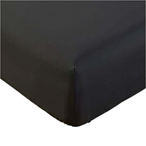 Mellanni Fitted Sheet Twin Black - Brushed Microfiber 1800 Bedding - Wrinkle, Fade, Stain Resistant - Hypoallergenic - 1 Fitted Sheet Only (Twin, Black)
