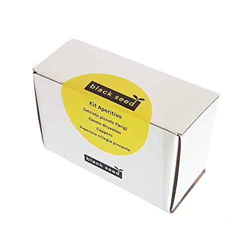 BLACK SEED - KIT APERITIVO - kit de semillas - kit de inicio - pequeña variedad de pepino de París, col de Bruselas, alcaparra, pimiento de cereza picante