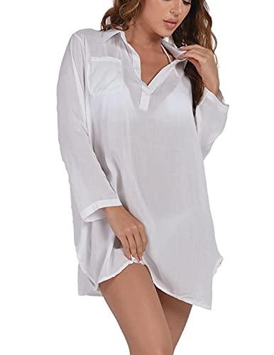 heekpek Copricostume Mare Donna Sexy Copricostume da Bagno Abito da Spiaggia Bikini Cover Up Tshirt Chiffon Costume Mare Spiaggia Estate Copribikini
