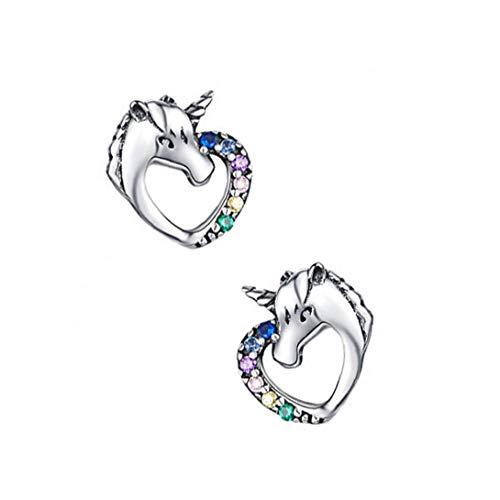 XKJFZ Pendientes de Caballo con Diamantes de imitación de Plata esterlina Caballo Lindo hipoalergénico Pendientes de joyería de fantasía Mujeres Par 1