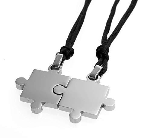 OUTLETISSIMO® Par de colgantes collar puzzle hombre mujer acero inoxidable y cuerda ET56