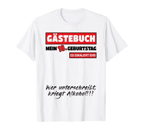 18. Geburtstag Party Junge Mädchen Lustig Gästebuch 18 Jahre T-Shirt