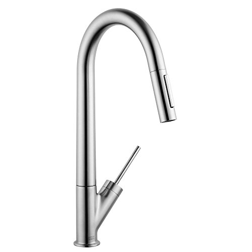 AXOR Starck Luxury 1-Handle 18-inch Tall Stainless Steel Kitchen Faucet with Pull Down Sprayer with QuickClean Magnetic Docking Spray Head in Stainless Steel Optic, 10821801