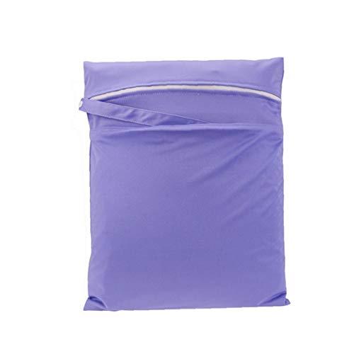 Húmedo lluvia de la bolsa del bolso del gimnasio para la práctica trajes de baño con cremallera bolsa de almacenamiento para el viaje, playa, piscina, Cochecito, pañales de bebé púrpura Esencial