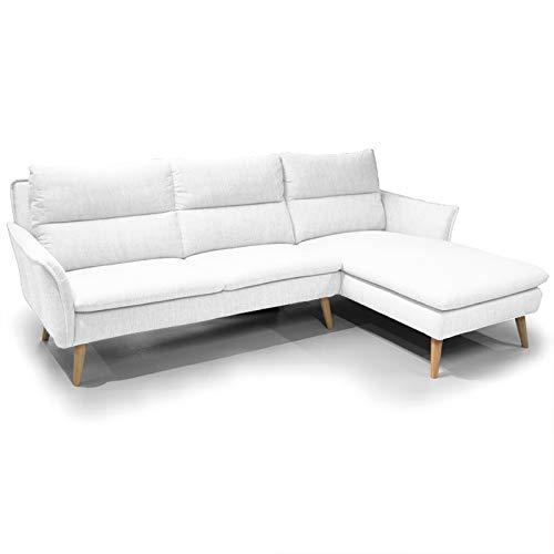 place to be. P9206 - Sofá de esquina de 3 plazas y reposabrazos a la derecha, diseño escandinavo sobre patas de madera, color blanco