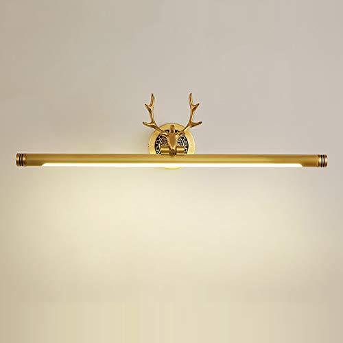 ACHNC LED Spiegelleuchte Vintage, Spiegellampe Badezimmer Antik Messing Geweih Schminklicht Badlampe Winkel-Einstellbar Wasserdicht Wandleuchte Für Kosmetikspiegel Schminktisch,Messing,L76CM/15W