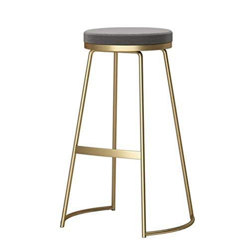 LLT Heces práctica moderna Banqueta de bar, Cocina bar para desayunos Comedor Marco de la silla del oro metálico Contador seguridad suave cojín del asiento de la carga máxima de 130 Kg,gris,45cm
