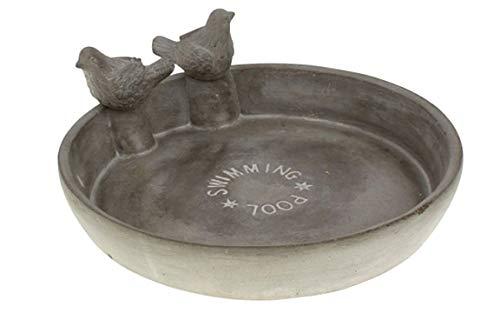 Bada Bing Hochwertige Vogeltränke Aus Zement Ca. 25 X 10,5 x 2 cm Mit Zwei Vögel Swimming Pool Beschichtete Wasserschale Tränke Für Vögel Garten 28