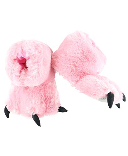 Lazy One Animal Paw Slippers for Kids and Adults, Fun Costume for Kids, Cozy Furry Slippers (Pink, Medium)