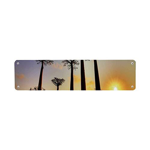 Inga Sunset - Letrero de hojalata Funcional con diseño de Horizonte Tropical...