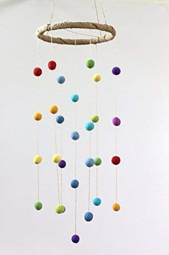 Rainbow Felt Ball Pom Pom Nursery Ceiling Mobile