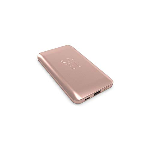 HALO - Pocket Power 6000 Portable Charger Power Bank for Phone - High-Speed TSA Approved 6000mAh Battery Pack - Standard USB Output and Micro USB Cable, Lightning Cable, USB Type C Cable - Rose Gold