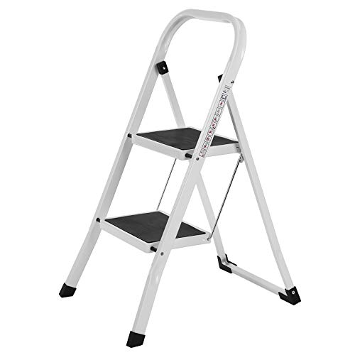 SONGMICS GSL12WT Escalera plegable, 2 Stufen