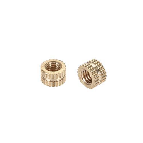 uxcell Knurled Insert Nuts, M4 x 4mm(L) x 6mm(OD) Female Thread Brass Embedment Assortment Kit, 100 Pcs