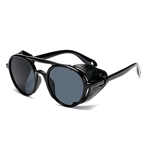 Gafas De Sol Nuevas Gafas De Sol Steampunk para Hombre, Gafas De Sol Redondas Punk De Cuero para Mujer, Tonos Vintage, Uv400 C1, Negro-Negro