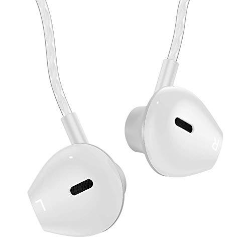 AzukiLife Kopfhörer mit Mikrofon, In Ear Earphones mit bassgetriebenem Sound, Tragbare komfortable Ohrhörer mit Kabel, In Ohr Headphones für iPhone, Android, Tablets -Silber Weiß