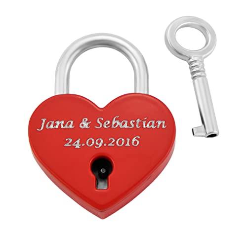 Hanessa Liebesschloss Graviertes Herz Vorhänge-Schloss mit Schlüssel mit Ihrer Gravur Hochzeitstag Jahrestag Geschenkidee Namensgravur in Rot