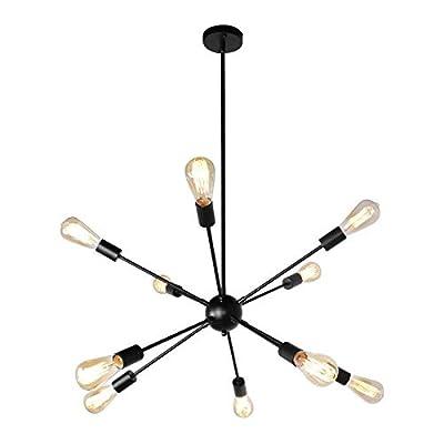 JHLBYL Sputnik Chandeliers 10-Light Modern Pendant Lighting Black Industrial Vintage Ceiling Light Fixture Mid Century Starburst Style Ceiling Lamp for Kitchen Dining Room Living Room