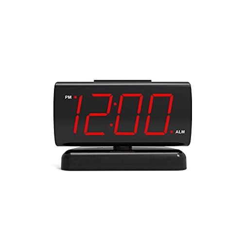 No application Reloj despertador con pantalla digital LED grande de 1,8 pulgadas, con función de repetición de 90 grados y base de rotación para dormitorio, sala de estar, oficina